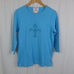 Quacker Factory Shirt Sequin Fleur De Lis SMALL